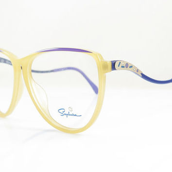 Saphira , Vintage Eyeglasses , Beige and Purple , Geometric ,Geek , Hipster , NOS , Eyeglass , Sunglass Frames