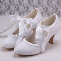 Wedopus Mary Jane Lace up White Wedding Shoes Bride Low Heels High Quality