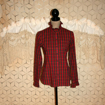 Womens Plaid Shirt Red Green Christmas Top Cotton Blouse Small Petite High Neck Ruffle Shirt Casual Button Up Tommy Hilfiger Womens Clothing