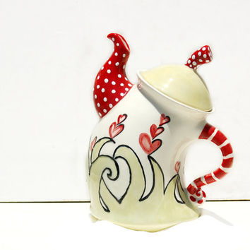 Whimsical Teapot hand painted for Serving Tea,  Kitchen, Tea Lover