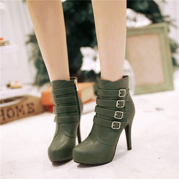 new plus size round toe thin high heels buckle ladies ankle boots celebrity fashion dress party shoes women y Alternative Measures - Brides & Bridesmaids - Wedding, Bridal, Prom, Formal Gown