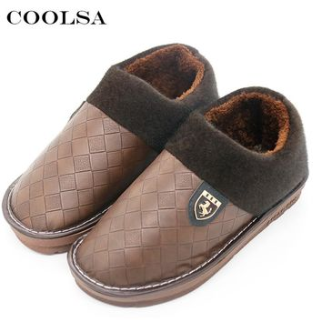 Coolsa New Winter Men Large Size Slippers Leather Plush Flat Slip-On Home Slipper Waterproof Mens Big Size 48 Warm Casual Shoes