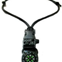 Paracord Survival Compass Whistle Emergency Camping Necklace