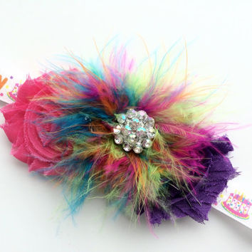 Over the Top Birthday Headband - Happy Birthday Headband - Pink and Purple Headband - Marabou Puff / Puffy Headband Photo Prop -