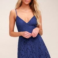 Magnolia Blossom Royal Blue Lace Skater Dress