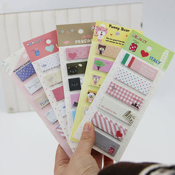 1pcs Office Stationery Romantic Memo Pad Sticky Kawaii Paper Stickers Bookmark Tab Flags Memo Book Marker Sticky Notes