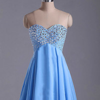 Short Beaded prom dress 2014 A-line Sweetheart Sleeveless Knee-length Elegant Chiffon Beading Prom Dress 2014