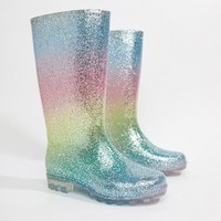 ASOS DESIGN Gransta Wide Fit rainbow glitter wellies at asos.com