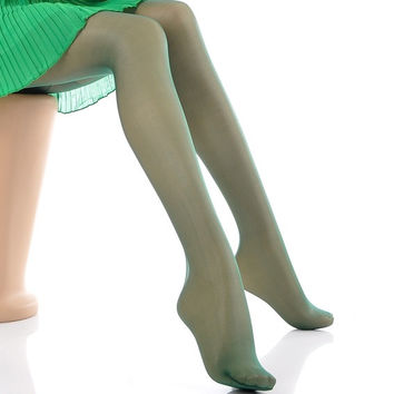 Women Sexy Silk Thin Stockings Pantyhose Leggings Tights Sheer Dark Green,1PC Free size(one size fits more women) = 1705640132