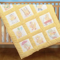 "Baby Ducks Jack Dempsey Stamped White Nursery Quilt Blocks 9""X9"" 12/pkg"