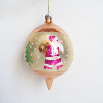 Large Vintage Christmas Ornament Santa Poland Hand blown Ornament Mercury Glass Christmas Tree Hand Painted glass Ball