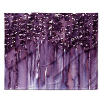 "Ebi Emporium ""Forest Through The Trees 2"" Purple White Fleece Throw Blanket"