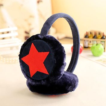 Winter warm fluffy plush earmuffs girls kids cute ear muffs Headwear thicken star print Headband ear warmers adult Ear cover