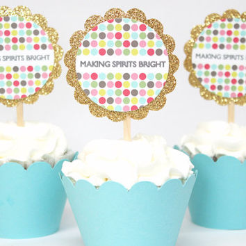 Christmas Cupcake Toppers Gold Glitter Holiday Dessert Toppers Colorful Polka Dot Cupcake Toppers Holiday Party Making Spirits Bright