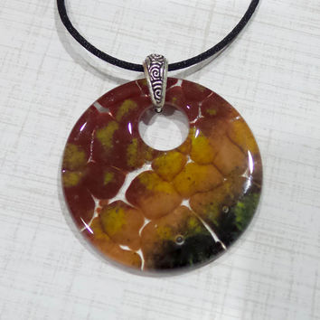 Statement Necklace, Maroon Red, Orangish Yellow, Forest Green, One of a Kind Pendant, Fused Glass Jewelry - Amber- -5