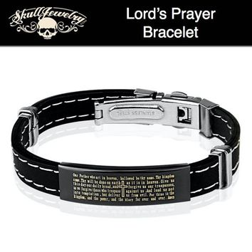 'Lords Prayer' Stainless Steel & Rubber Bracelet (843)
