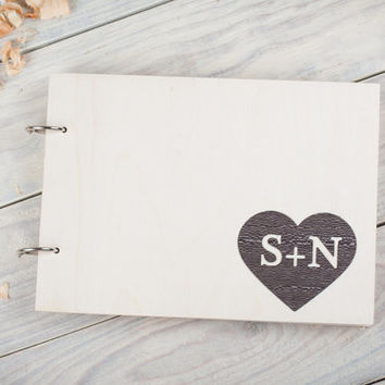 Unusual Guest Book. Wedding Guestbook. Dark wood. Heart. laser perforation. Wedding gifts. Rustic wedding.