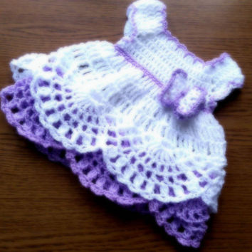 Baby Crochet Dress , White Purple Baby Dress Newborn Dress First Birthday Dress Baby Girl Dresses Infant Dress Crochet Frock Butterfly Dress