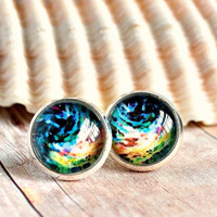 ocean swells post earrings photo under glass silver plated