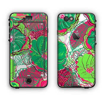 The Bright Pink and Green Flowers Apple iPhone 6 LifeProof Nuud Case Skin Set
