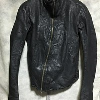 Authentic Obscur Lambskin Leather Asymmetrical Zip Jacket