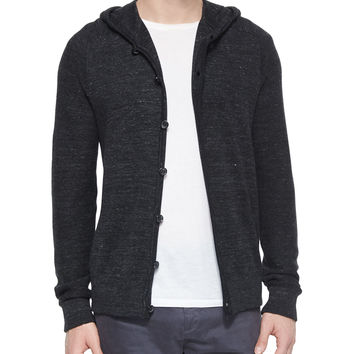 Long-Sleeve Hooded Cardigan, Black, Size: