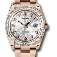 DCCK Rolex Oyster Perpetual Datejust 36MM 18K Everose Gold Case, Diamond Bezel With 60 Baguettes, Silver Jublilee Dial, Diamond Hour Markers, Oyster Bracelet.