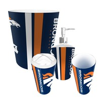 Denver Broncos NFL Complete Bathroom Accessories 4pc Set