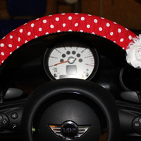 Red Polka Dot Steering Wheel Cover with Shabby Chic Roses in Blue and White