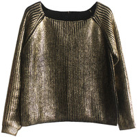 Metallic Raglan Knit Sweater