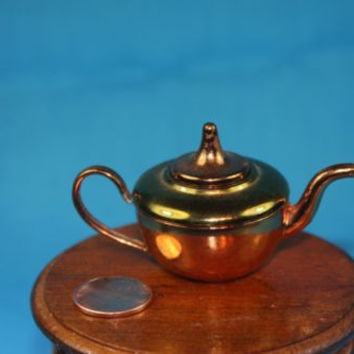Dollhouse Miniature Brass Copper Tea Pot with Lid Heavily Made England Vintage