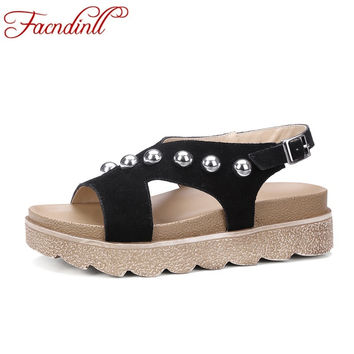 2017 shoes woman suede leather wedge mid heel gladiator sandals women bandage rivets beading flip flops thick platform sandals