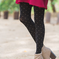 Sally Black Polka Dot Tights