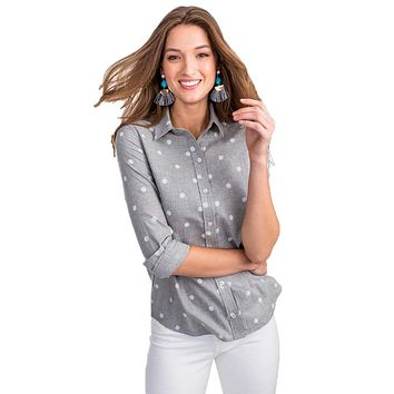 Emery Dot Button Front Tencel Shirt in Dynamic Gray by Southern Tide