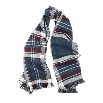 Reversible Plaid Wrap in Red and Navy Plaid by Barbour - FINAL SALE