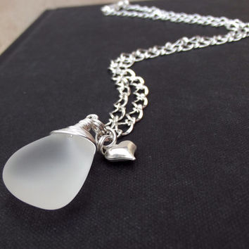 Sea Glass Pebble Necklace: Frosted White Fine Silver Wire Wrapped Pendant Heart Charm Beach Wedding Jewelry, Bridal Bridesmaid