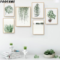 FOOCAME Watercolor Plant Leaves Monstera Cactus Posters and Print Art Canvas Painting Home Decor Wall Pictures For Living Room