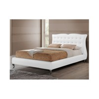 Erin Modern and Contemporary White Faux Leather King Size Platform Bed