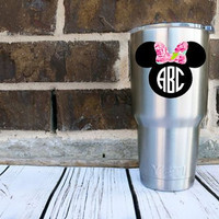 Minnie Mouse Decal Disney Inspired Monogram - Lilly Pulitzer - Yeti Decal - Sticker - Car Decal - Monogram Decal - Any Size - Glitter - Bow