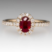 Low Profile Diamond Halo Ruby Ring 14K Gold
