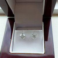 1.49 Carat F SI3 Diamond Earrings 14k White Gold Setting Jewelry Fine Make Anniversary Fashion Grand Opening Sale Prices! Free Box !