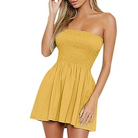 Women's Summer Sundress Vestidos Casual Solid Slim Fit Sleeveless Strapless Mini Dress Sexy Party Beach Dress Female Jurken