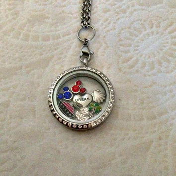 DCL Disney cruise line Dream inspired living locket stainless with your choice of chain and Mickey birthstones