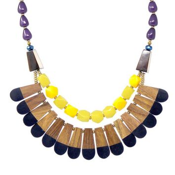 Tribal Wood and Color Pop Layer Necklace