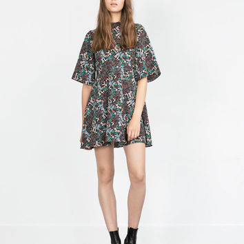 MULTICOLORED DRESS WITH FLARED SLEEVES