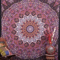 Indian Star tapestry elephant Mandala wall hanging Queen bedspread
