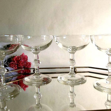 Vintage set of FOUR champagne glasses coupes saucers 1950's Mad Men Mid Century Old Hollywood style, or martini up glasses Libbey Georgian