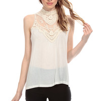 Ivory Crochet A Line Top