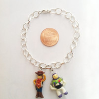 Toy Story Woody and Buzz Clay Charm Bracelet by aWishUponACharm