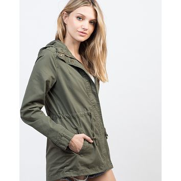 Drawstring Waist Hooded Military Jacket